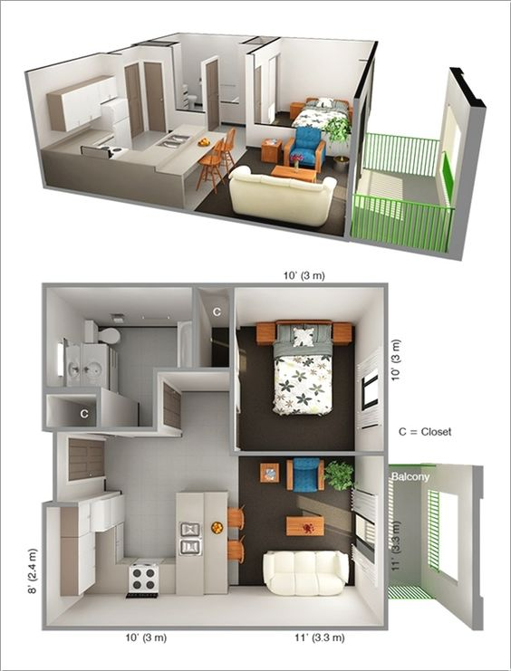 Design Ideas For a Studio Apartment in 2020