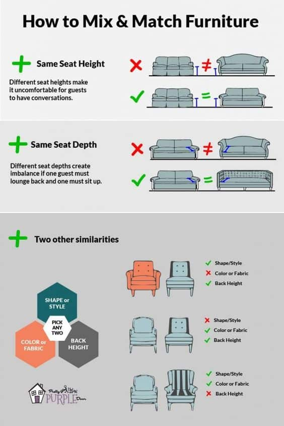 How to Mix-and-Match your furniture this is how and what furniture is best in combination.