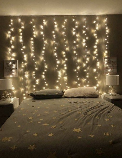 Hang twinkle lights in the room.