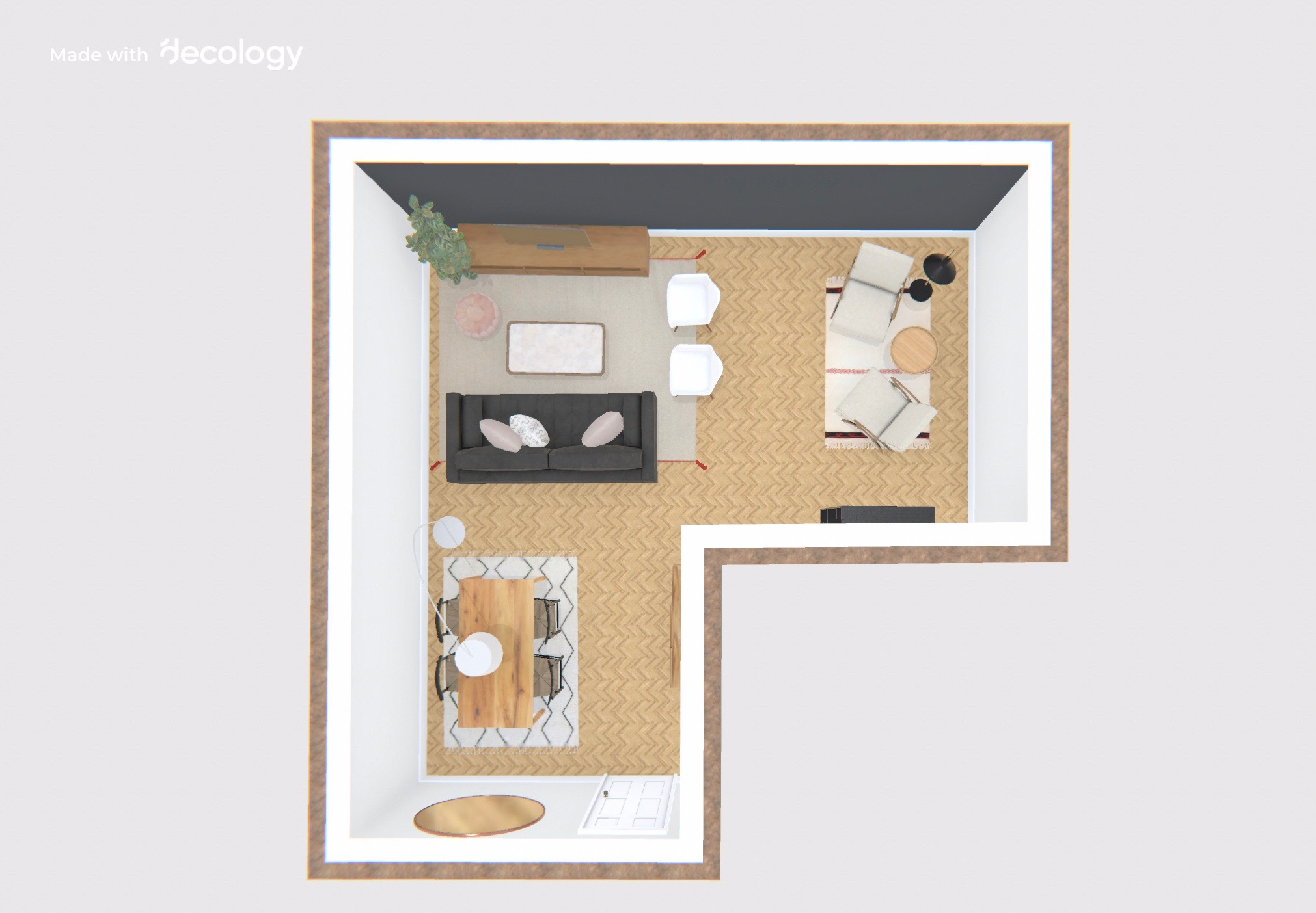 Photo from decology.com best example for L shaped living room design.