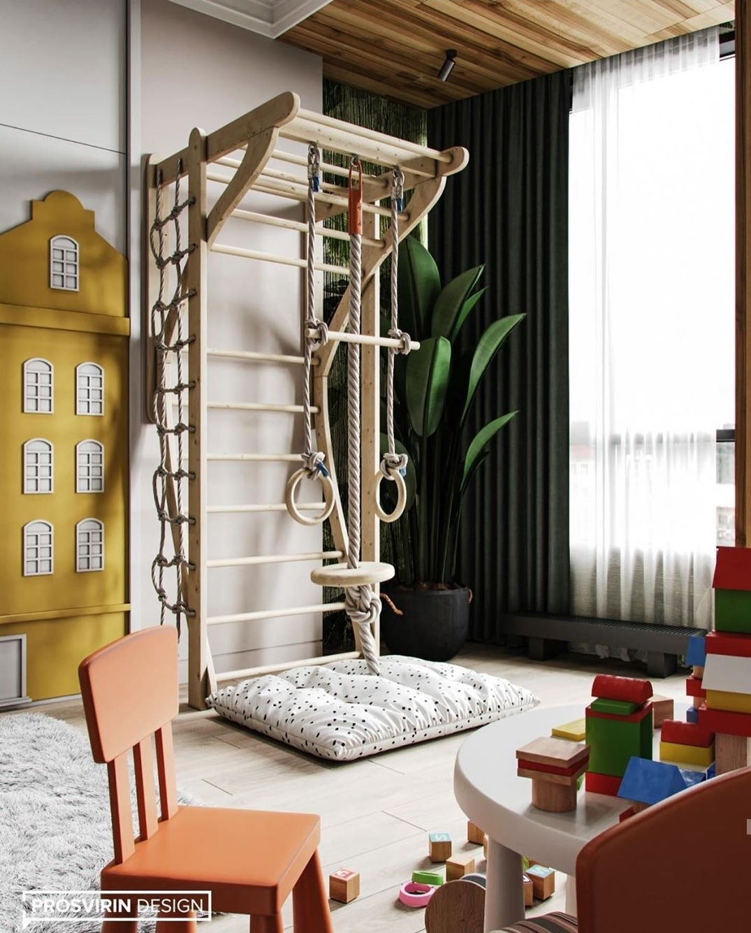 Why not go to the park instead of you and your child when climbers and a slide can be in your room, if of course it is spacious.
