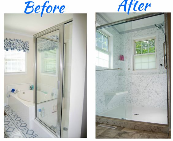 Before and after tube in walk in shower