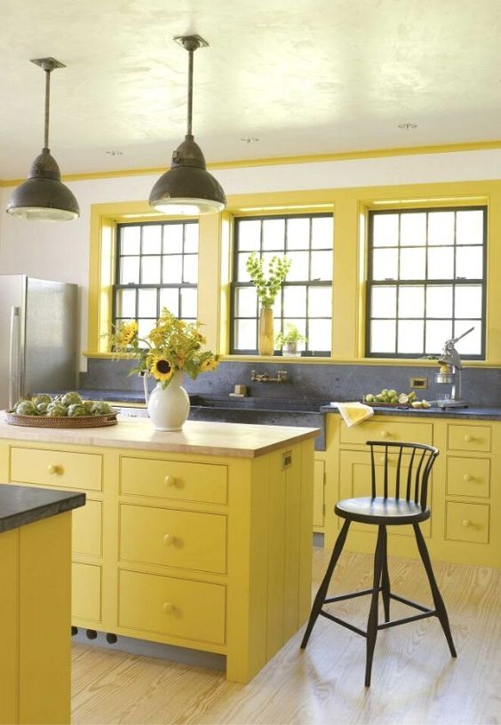Say Hello to yellow one of best colors of kitchen elements. This is SOOO me.