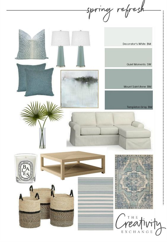 Soothing Palette color ideas for living room.