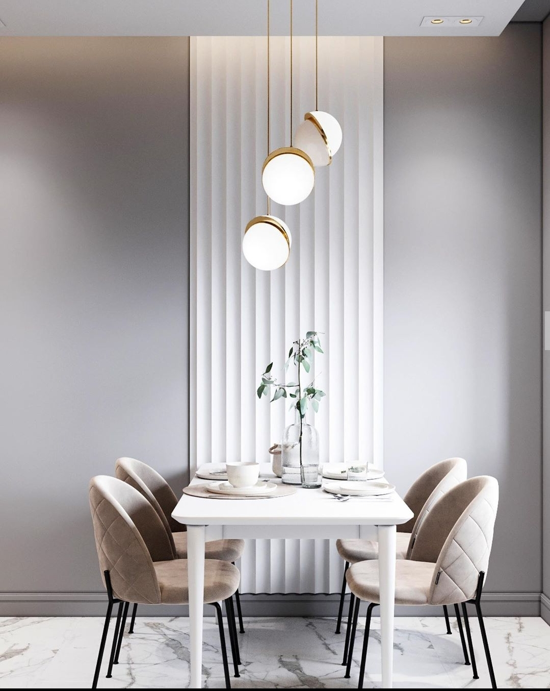 Amazing lighting in dining part of this room.