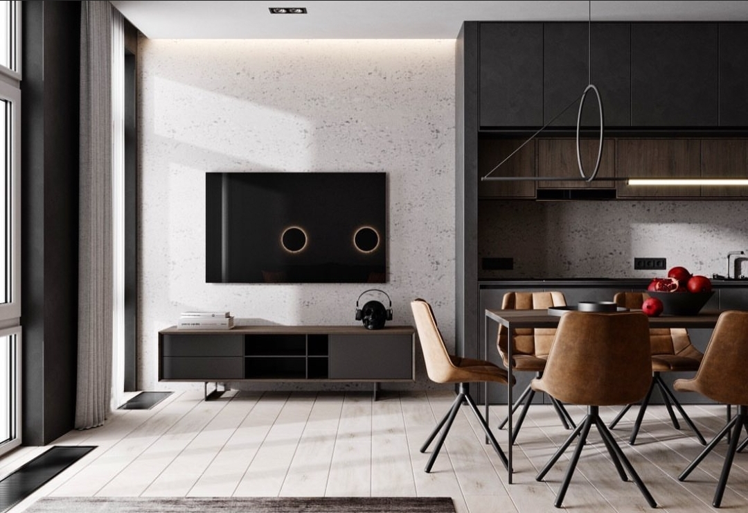 design a small apartment (dark variant)